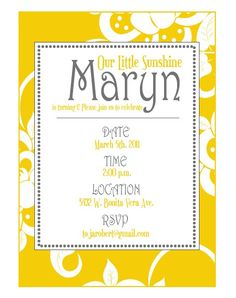 Yellow Sunshine Party PRINTABLE DIY Invitation by by lovetheday