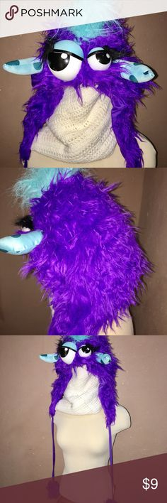 Cute Halloween Minster  Hat 🦇🎃 Purple and blue fuzzy google eyed monster hat Costumes Halloween