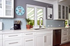 •Tiffany Blue accents coupled with brushed nickel hardware and clean simple lines create the stylish backdrop for our  Tilt and Turn product shutter style window.
