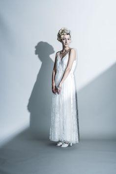 Coordinate dress …繊細なリバーレースのシースルードレスとスリップドレスのコーディネート。