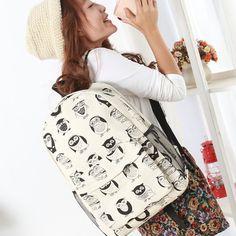 2015 New kpop women owl backpack,canvas printing cute backpacks high school,korean rucksack backpack,school bags for women D8