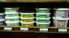 Go Veggie! Chive cream cheese spread next to other cream cheese alternatives. Cheese Alternatives, Go Veggie, White Miso, Cream Cheese Spreads, Coffee Cans, Veggies, Beer, Canning, Root Beer