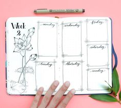 Bullet journal weekly layout, Lily drawing, lily pad drawing. | @kohanadiary