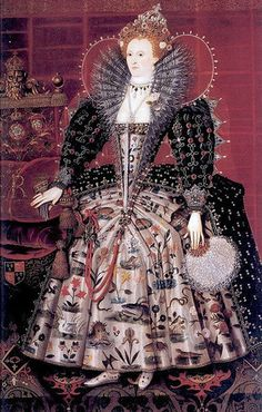 Elizabeth I, Hardwick Portrait (flickr, picture by Lisby)   pearls stood for virginity, purity and loving god (just what Elizabeth wanted to be seen as).