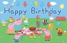 Peppa Pig Personalize Printed Birthday Backdrop Banner Age in Peppa Pig Happy Birthday, Pig Birthday Cakes, Happy Birthday Name, My Daughter Birthday, Banner Backdrop, Birthday Backdrop, Peppa Pig Familie, Peppa Pig Images, Peppa Pig Pictures