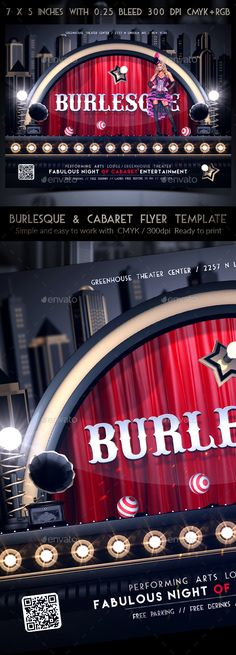 """Burlesque & Cabaret Flyer Template Burlesque & Cabaret Flyer TemplateAll we want, our event to be unique! """"Cabaret Flyer"""" is a great way to introduce your upcoming event!It will attract the attention of your audience, because it is stylish, magnetic and attractive. Made with passion, it is a guarantee for your great success!Burlesque & Cabaret Flyer features: The PSD files is Fully"""