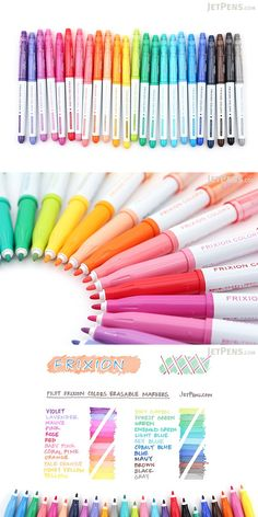 Pilot's FriXion Colors markers produce erasable, solid color lines! Take error-free notes, color-code your ever-changing calendar, or write cute letters to friends. Cute School Supplies, Craft Supplies, Stationary Supplies, Jet Pens, Copics, Stationery, Mandala, Notes, Doodles