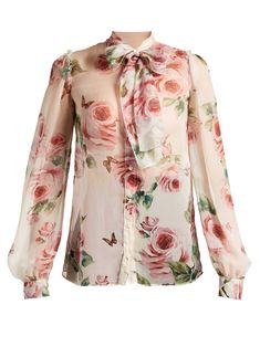 Click here to buy Dolce & Gabbana Rose-print tie-neck chiffon blouse at MATCHESFASHION.COM