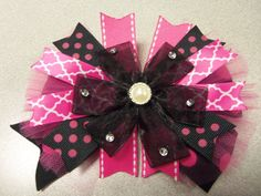 Hey, I found this really awesome Etsy listing at https://www.etsy.com/listing/186020928/hot-pink-black-boutique-stacked-girl