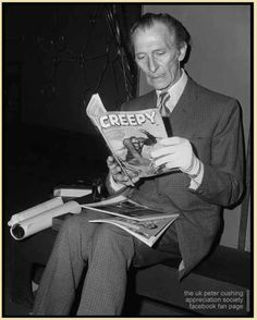 Peter Cushing reading a monster magazine.