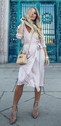 #spring #summer #street #style #outfitideas |Pink Wrap Spring Coat