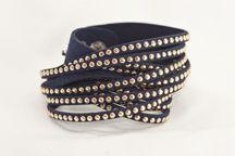 Navy Leather Gold Studded Wrap Bracelet. Super #trendy. Only #13!