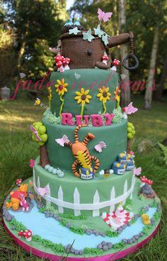 Winnie the Pooh cake, tigger, piglet, tree stump cake.