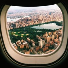 Central Park airplane window view