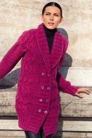 dámský ručně pletený kabát z příze Souflé