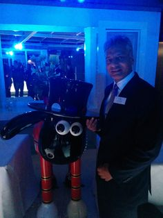 Tony Matharu, Managing Director of Grange Hotels, with Shaun the Sheep at Shaun in the City Event (Wallace & Gromit's Children's Charity) - Grange St. Paul's Hotel #ShaunTheSheep #London