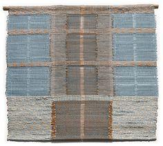 "Dörte Weber | Modern Day Living | cotton warp, weft = plastic bags + bamboo + novelty yarn + metal heddles + hand-dyed cotton fabric | 30"" x 27"" x 0.5"" | San Antonio, Texas, U.S.A. | 2013"