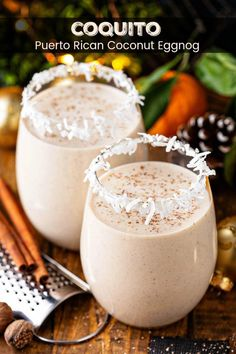 This authentic Coquito recipe is a Puerto Rican tradition that is loaded with coconut, rum, cinnamon and raisins for an extra thick and creamy coconut eggnog. Best Coquito Recipe, Authentic Coquito Recipe, Puerto Rican Coquito Recipe, Puerto Rican Recipes, Cuban Recipes, Spanish Coquito Recipe, Gastronomia, Cocktail, Recipes