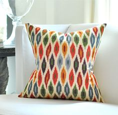 """20""""sq. Schumacher SUNARA Ikat pillow cover in Spice from the etsy shop Woody Liana"""
