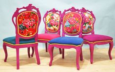 4 x crafted dining chairs  Chinese peony by namedesignstudio, $2400.00
