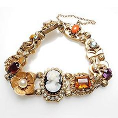 Antique Slide Charm Bracelet Genuine Gemstones Solid 14K Yellow Gold