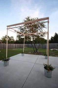 An Easy-Build DIY String Lights Pergola diy modern screen wall Backyard Lighting, Backyard Pergola, Backyard Landscaping, Outdoor Lighting, Corner Pergola, Outdoor Pergola, Patio Diy, Patio Ideas, String Lights Outdoor