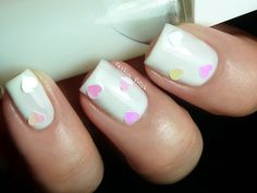 Light Blue Pastel Manicure with Fluorescent Hearts by Fashion Polish