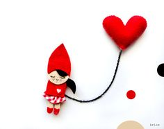 Little Red Riding Hood with Heart Brooch by krize on Etsy, $27.00