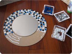 Mosaic Mirror Tutorial COMO HACER UN ESPEJO EN DIFERENTES MODELOS NDA MAS HACER EL ESPEJO DE DIFERENTE FIGURA Y PEGARLO EN UN FIBRASEL O TABLA DELGADA