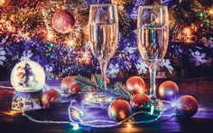 Champagne, New Year, champagne glasses, 2017, christmas, winter, garland