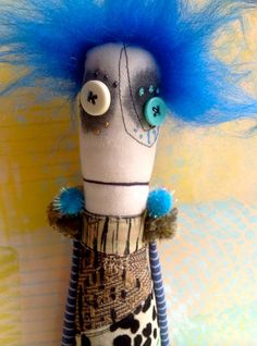 Handcrafted Anxiety Faerie art doll with button eyes by Snotnormal