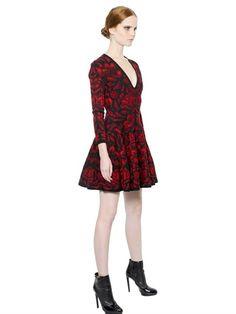 VISCOSE WOOL BLEND FLORAL JACQUARD DRESS