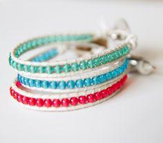 Pink Beaded Leather Cuff Single Wrap Bracelet Jewelry - Caribbean Stackable Bracelets - Chan Luu Style. $15.00