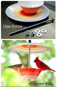 'High Tea' Bird Feeder?! craft, cups, high tea, bird feeders, kids, garden, birds, cardinals, bowls