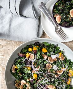 Fig, butternut squash and marinated kale salad with a balsamic reduction