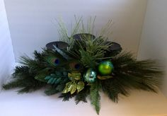 Christmas  Peacock Feather Candle