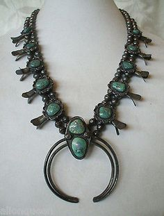 Very Old 1930s Navajo Sterling Silver Turquoise Squash Blossom Necklace Patina | eBay