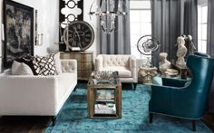 Eclectic elegance using blues, grays and white. Stylish Home Decor & Chic Furniture Elegant Living Room, My Living Room, Living Room Chairs, Living Room Furniture, Living Room Decor, Living Spaces, Modern Living, Bedroom Decor, Affordable Modern Furniture