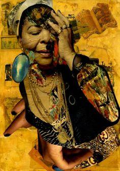 "Saatchi Art Artist CARMEN LUNA; Collage, ""45-Collagemania. Cesaria Evora."" #art"