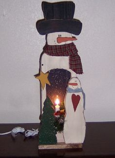 Primitive Wood Snowman Light Box, Snowmen & Frosty Friends Crafts
