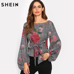 Gender: Women Sleeve Length(cm): Full Collar: O-Neck Sleeve Style: lantern Sleeve Style: Casual Brand Name: SheIn Clothing Length: Short Fabric Type: Broadcloth Decoration: Bow Pattern Type: Print Model Number: blouse171107703 Material: Polyester UID: 171129221 Fabric: Fabric has no stretch Season: Spring, Fall Fit Type: Regular Fit