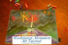 Washington Monument with Fireworks Art Tutorial www.hodgepodge.me