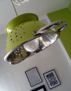 recycled lamps with colored strainers. I showed the prototype green, but there will be more colors available.