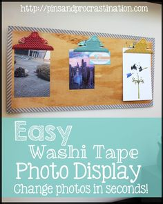 Easy Washi Tape Photo Display - Pins and Procrastination Photo Displays, Washi Tape, Craft Supplies, I Am Awesome, Triangle, Invitations, Crafty, Thursday, Cute
