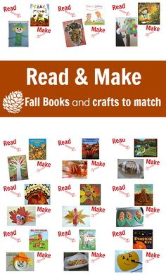 From No Time For Flashcards. I love Read & Make! 23 books about fall with great crafts to do after reading. Fall Preschool, Preschool Books, Preschool Crafts, Preschool Seasons, Kids Crafts, Autumn Activities, Preschool Activities, Book Crafts, Activities For Kids