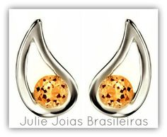 Brincos em prata 950 e citrino (950 silver stud earrings with citrine)