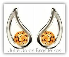 Brincos em prata 950 e citrino (950 silver stud earrings with citrine)