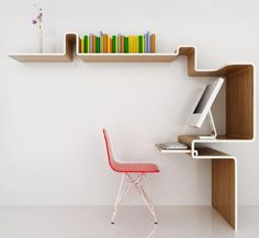 We love this squiggly workstation! Great for a small space.
