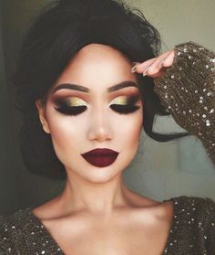 Alinna burgundy lips gold bold cutcrease