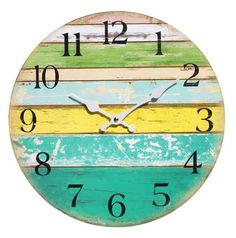 Wall Clock - Coloured Boards Coastal Decor Large from Earth Homewares